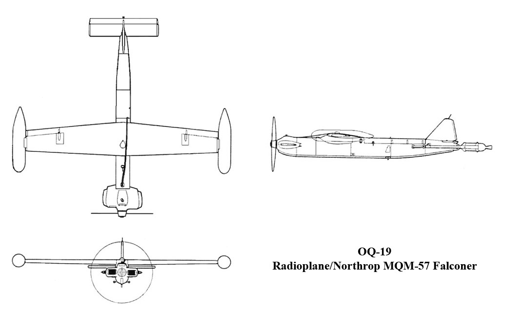 Plans de l'OQ-19, radioplane/Northrop MQM-57 Falconer