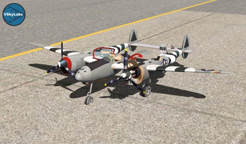 Lockheed P-38 Lightning sur simulateur d'avion radiocommandé pour apprendre à piloter un avion rc.