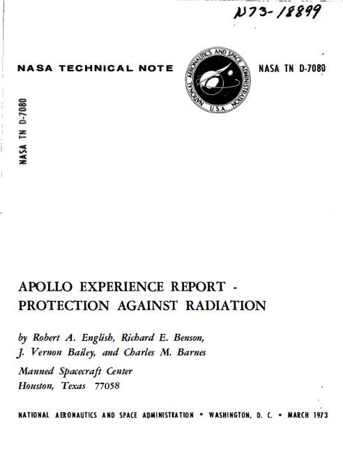 La ceinture de Van Halen : note technique de la NASA faisant la synthèse des missions Apollo vis à vis des doses de radiation des équipages d'Apollo.