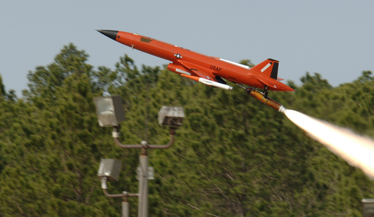 A BQM-167 Air Force Subscale Aerial Target is launched from Tyndall Air Force Base, Fla. The drone provides a threat-representative target for the Air Force Weapon System Evaluation Program. (U.S. Air Force photo/Bruce Hoffman)