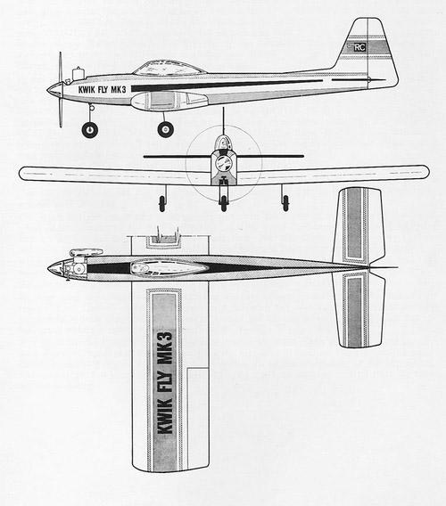 Extrait de la notice Graupner d'époque, les lignes épurées du Kwik Fly mk.3