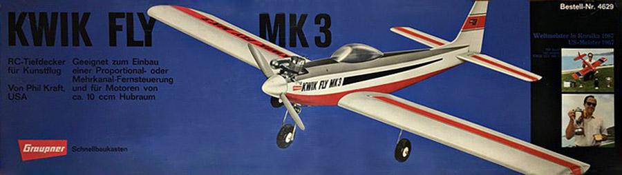 La boite mythique du Kwik Fly Mark 3 de Graupner, réf 4629.