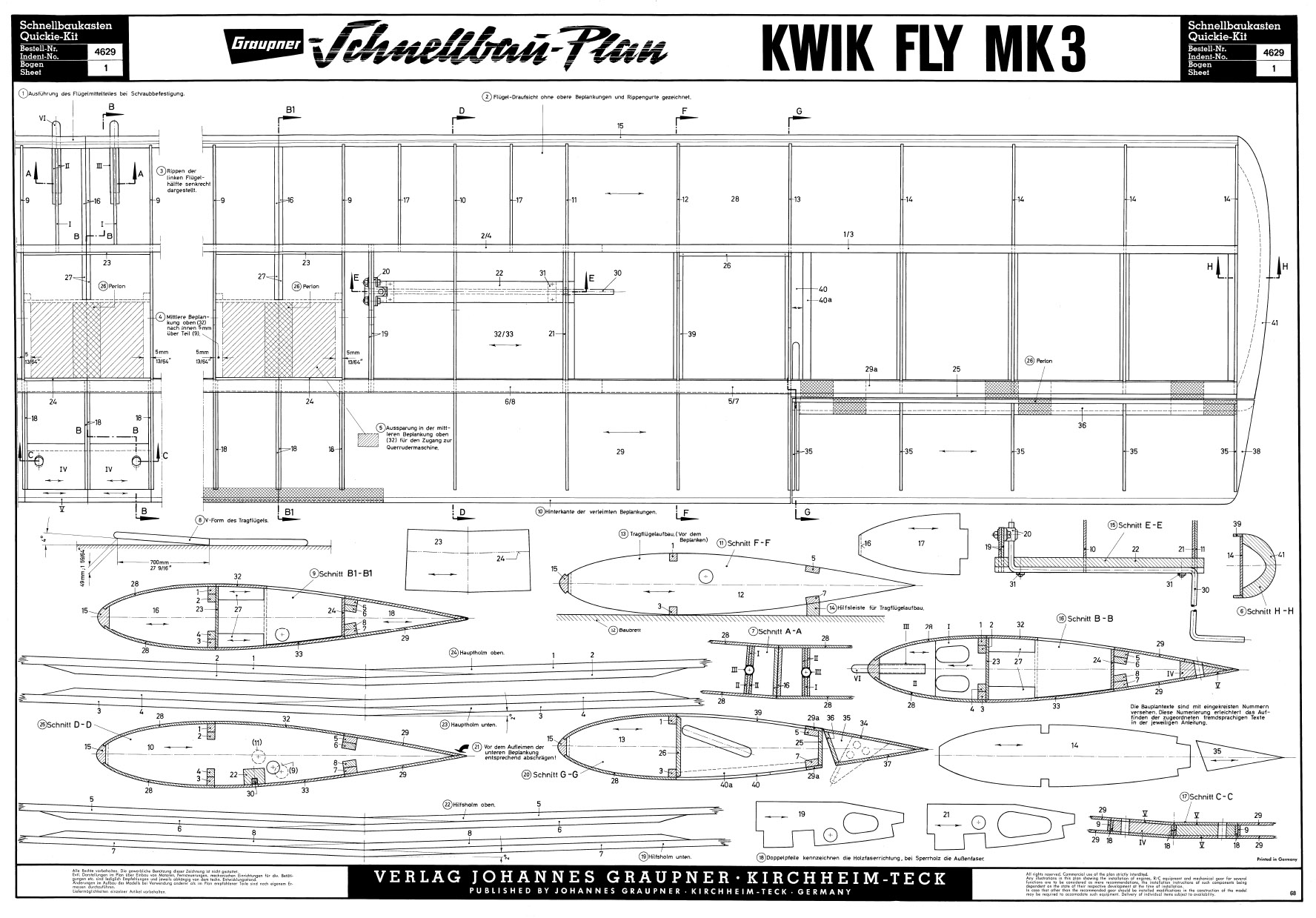 Liasse de plans pdf du Kwik FLy Mark 3 de Graupner