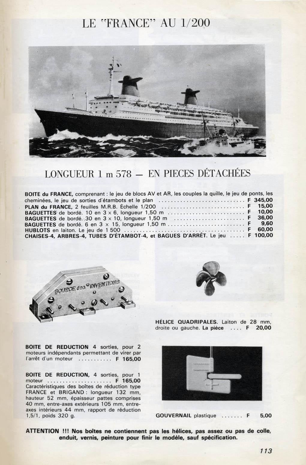 Le paquebot France dans le catalogue de La documentation du Modéliste. Notez le réducteur moteur, production de La Source des Inventions.