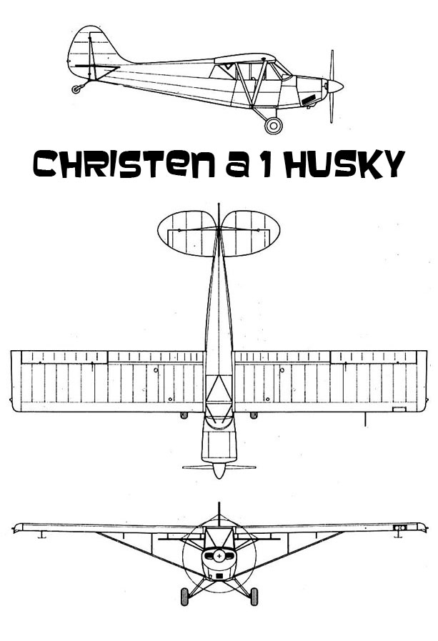 Plans 3 vues du Christen A1 Husky de Aviat Aviation