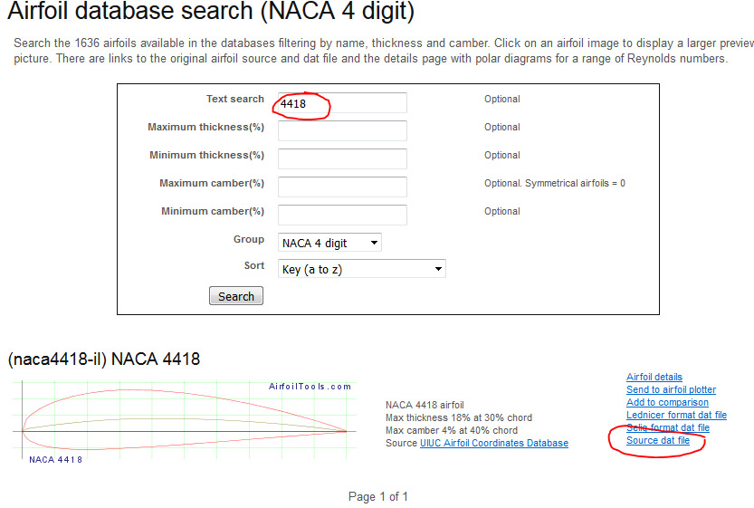 La base de données airfoil database