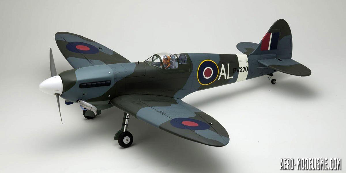 Le Spitfire Mk.V thermique de chez Kyosho. Peut tre ŽquipŽ en moteur 2 temps 46-55 et en moteur 4 temps 56-62.