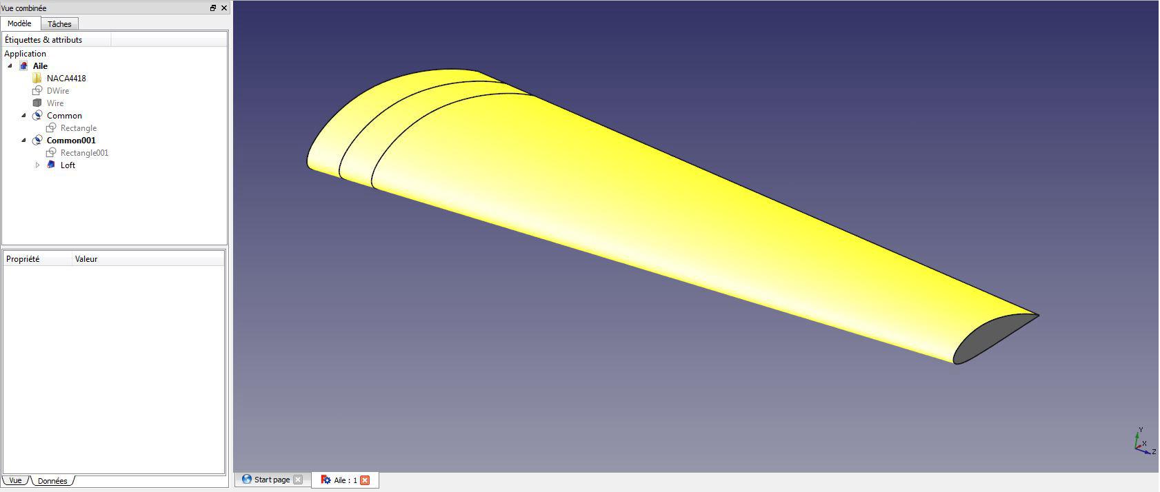 Génération de notre surface d'aile, qui est un volume en fait dans lequel on va venir définir les sections pour en extraire nos nervures.