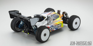 Vue arrière du Kyosho INFERNO MP9 TKI4 10th Anniversary Special Edition