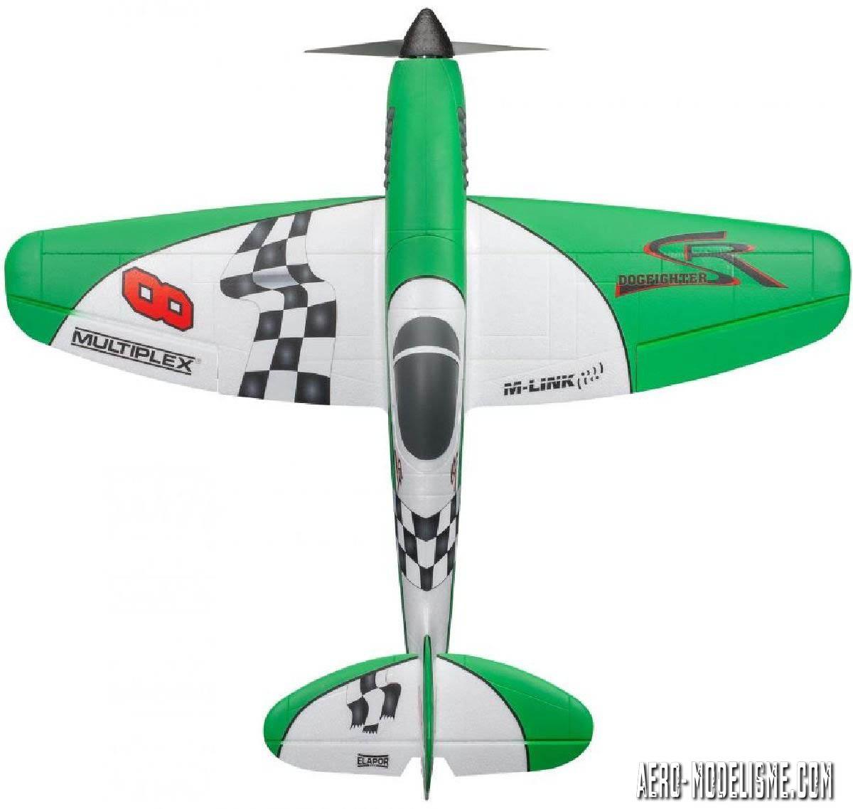 Le Dogfighter dans sa dernière version avec la déco revisitée. On reconnait bien sur cette vue sa tête de warbird, à mi-chemin entre le P-51 et un Spitfire qui aurait eu les ailes arrondies
