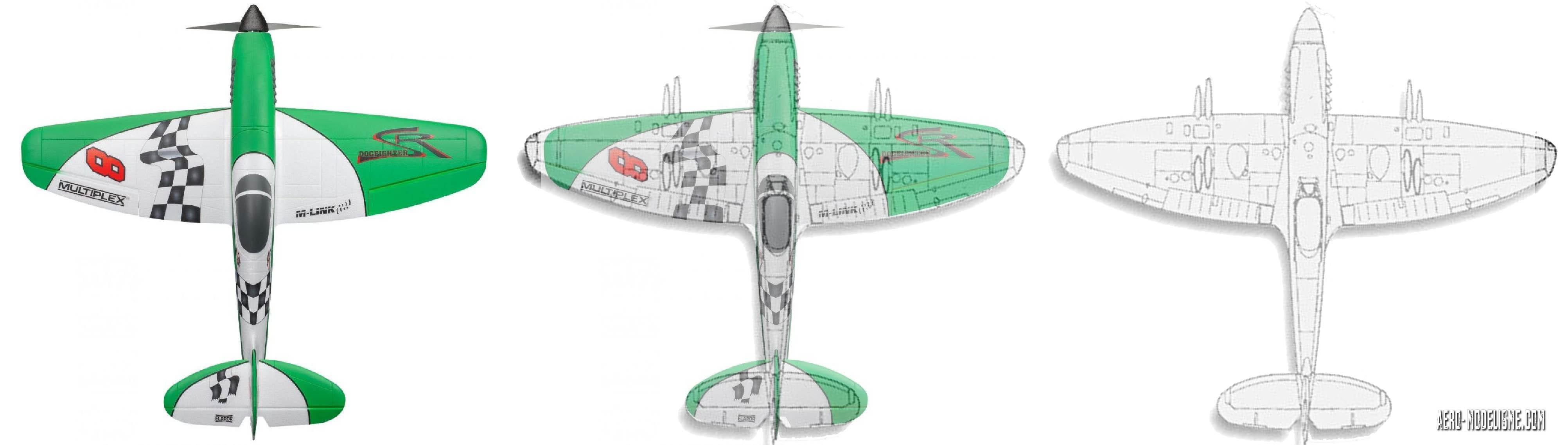 La vue de dessus du Dogfighter. On reconnait bien sur cette vue sa tête de warbird, à mi-chemin entre le P-51 et un Spitfire. A droite un Spitfire XXI, au centre le Dogfighter supperposé avec ce Spitfire XXI.