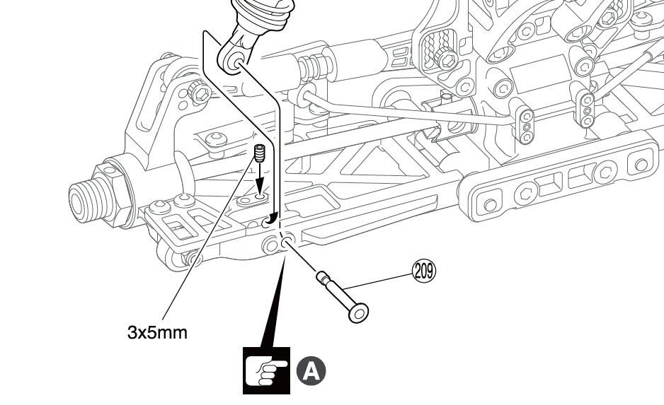 Pin de fixation inférieur amortisseur de l'Inferno MP9 tki4. Extrait de la notice.
