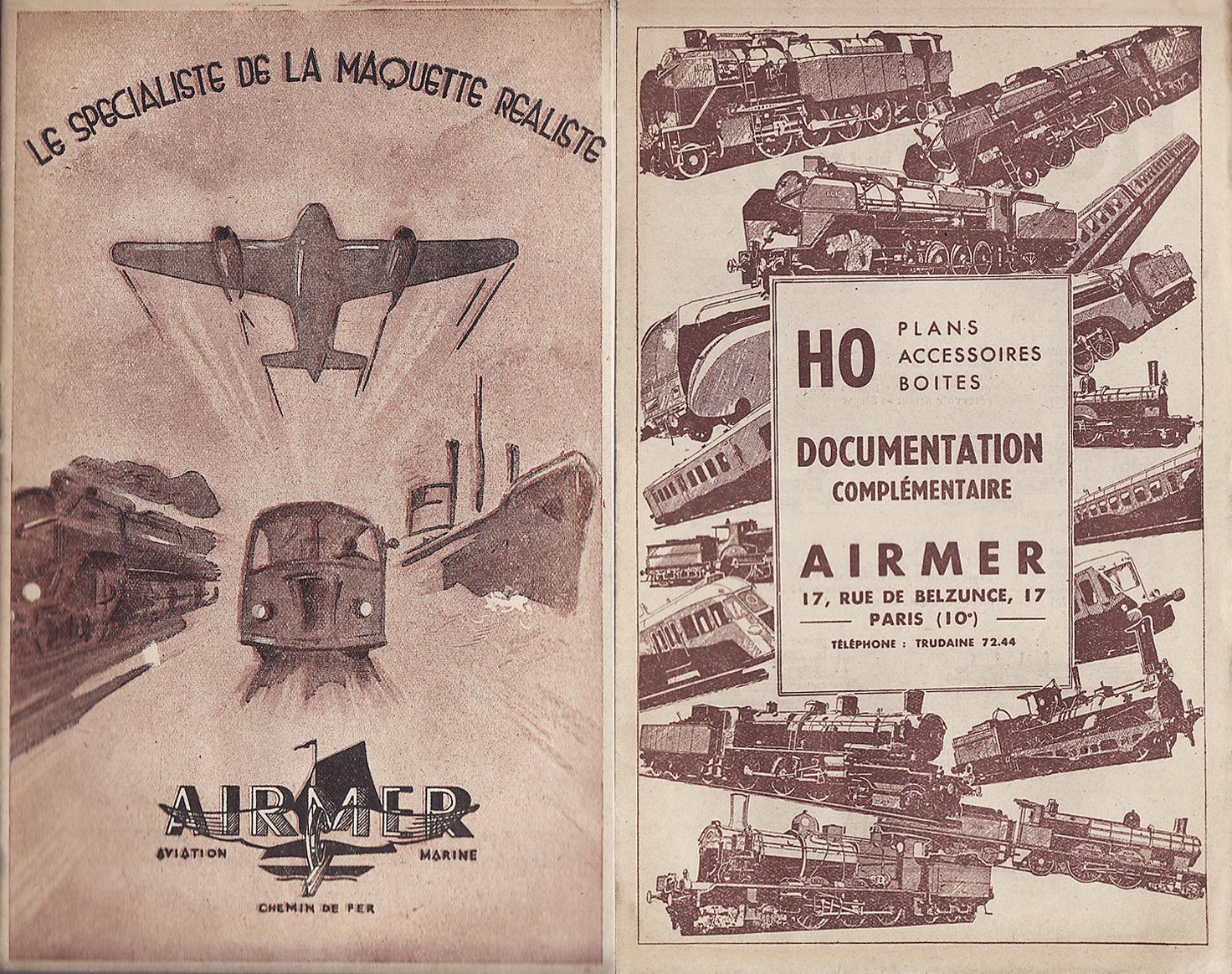 """Ancien catalogue Airmer, """"Le spécialiste de la maquette réaliste""""."""