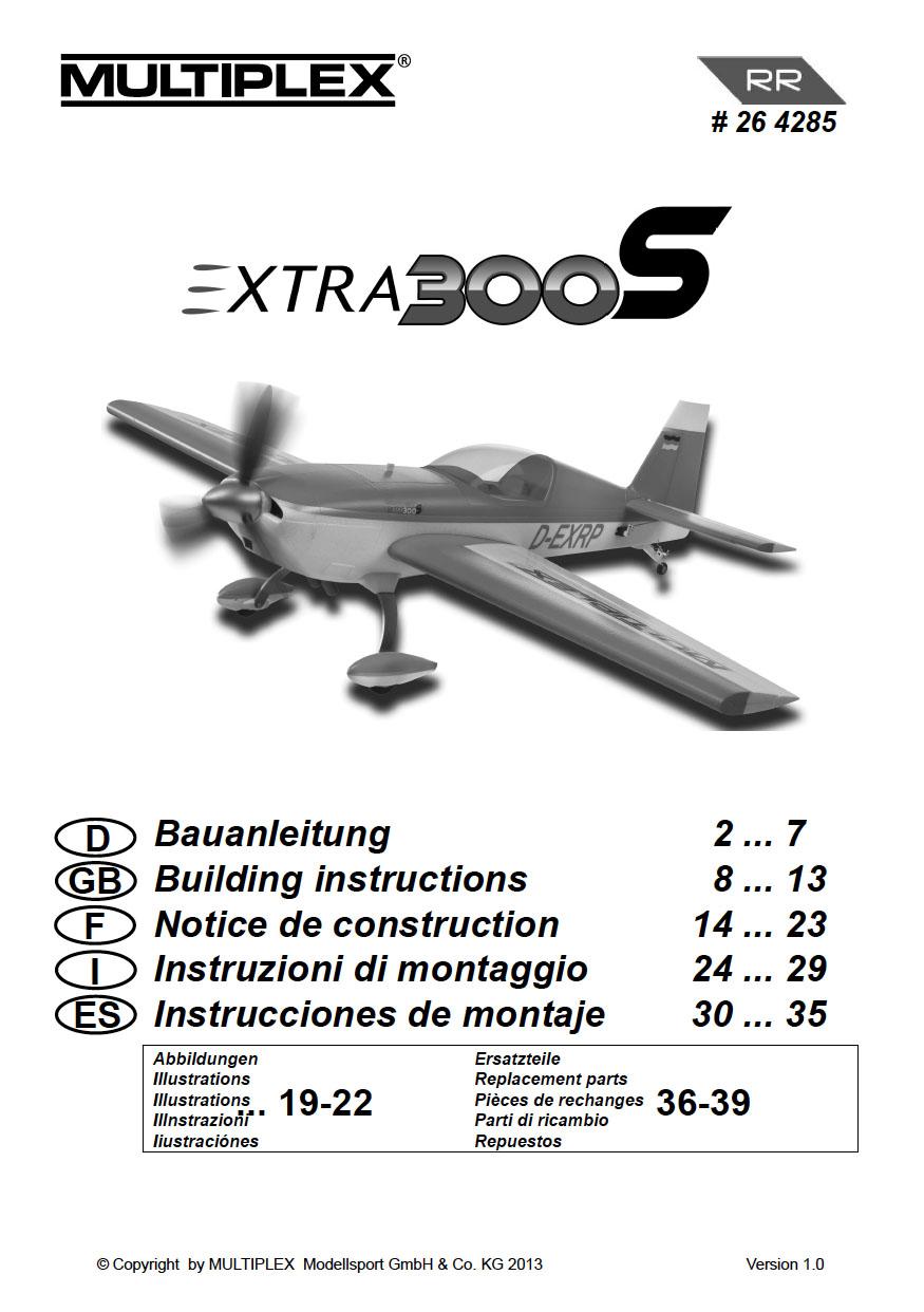 Cliquez ici pour télécharger la notice de l'Extra 300S de Multiplex. Réf 264285.