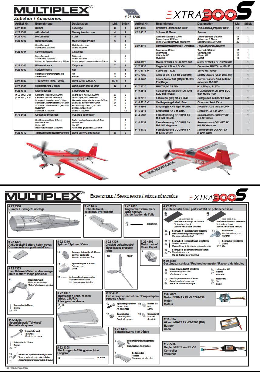 Liste et références des pièces détachées pour l'Extra 300S de Multiplex. Cliquez ici pour télécharger le pdf.