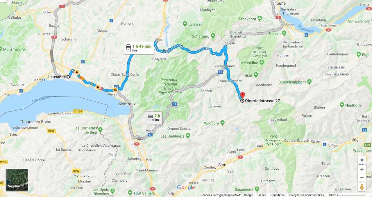 Itinéraire depuis Lausanne.