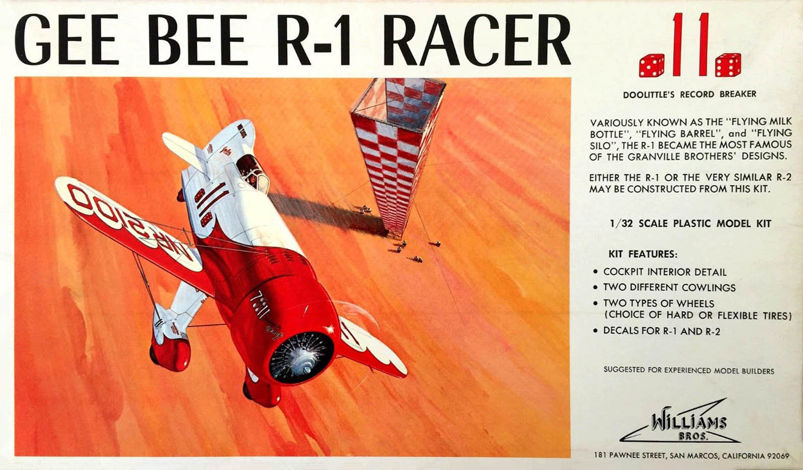 Box art maquette Gee Bee R1, échelle 1/32.