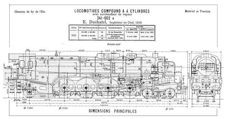 Caractéristiques et dimensions de la locomotive à vapeur 241-002 A des chemins de fer de l'Est.