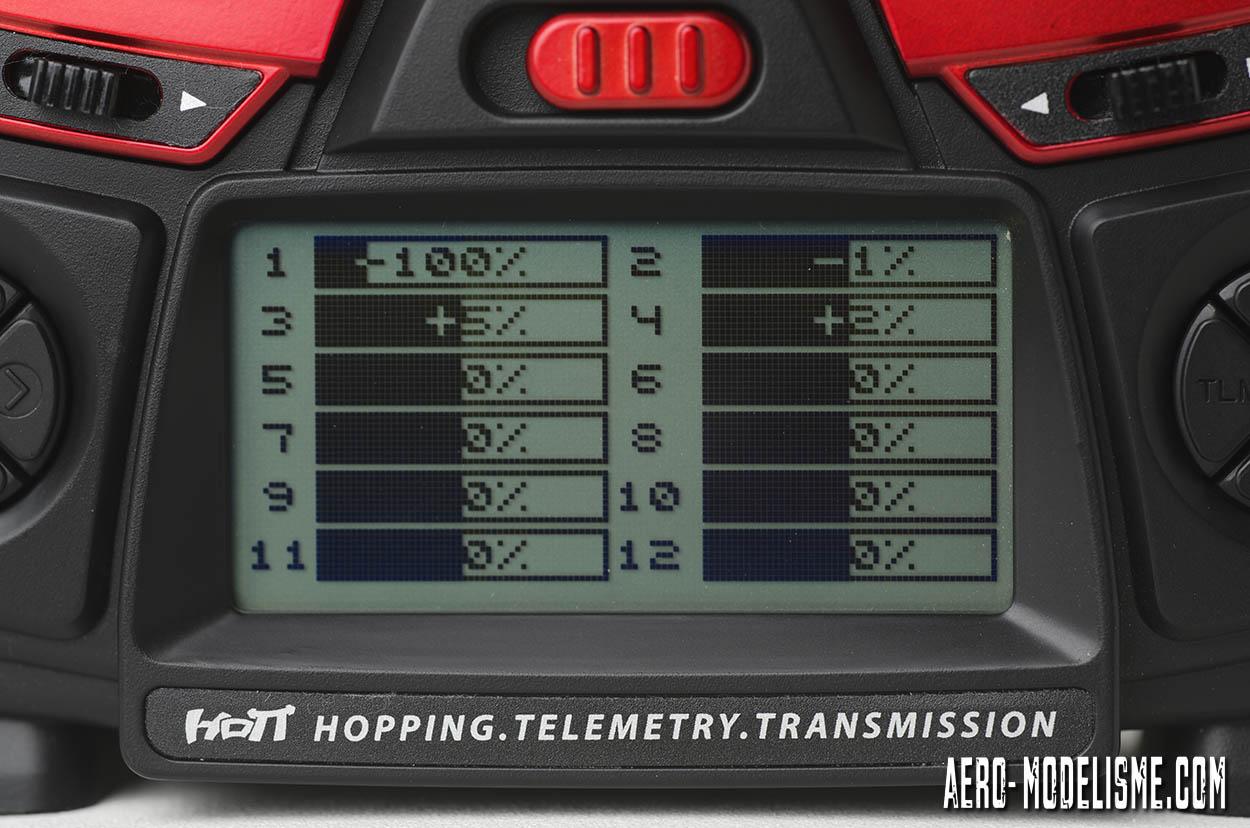 Graupner MZ 12 pro. L'écran avec accès rapide pour visualiser les 12 voies.