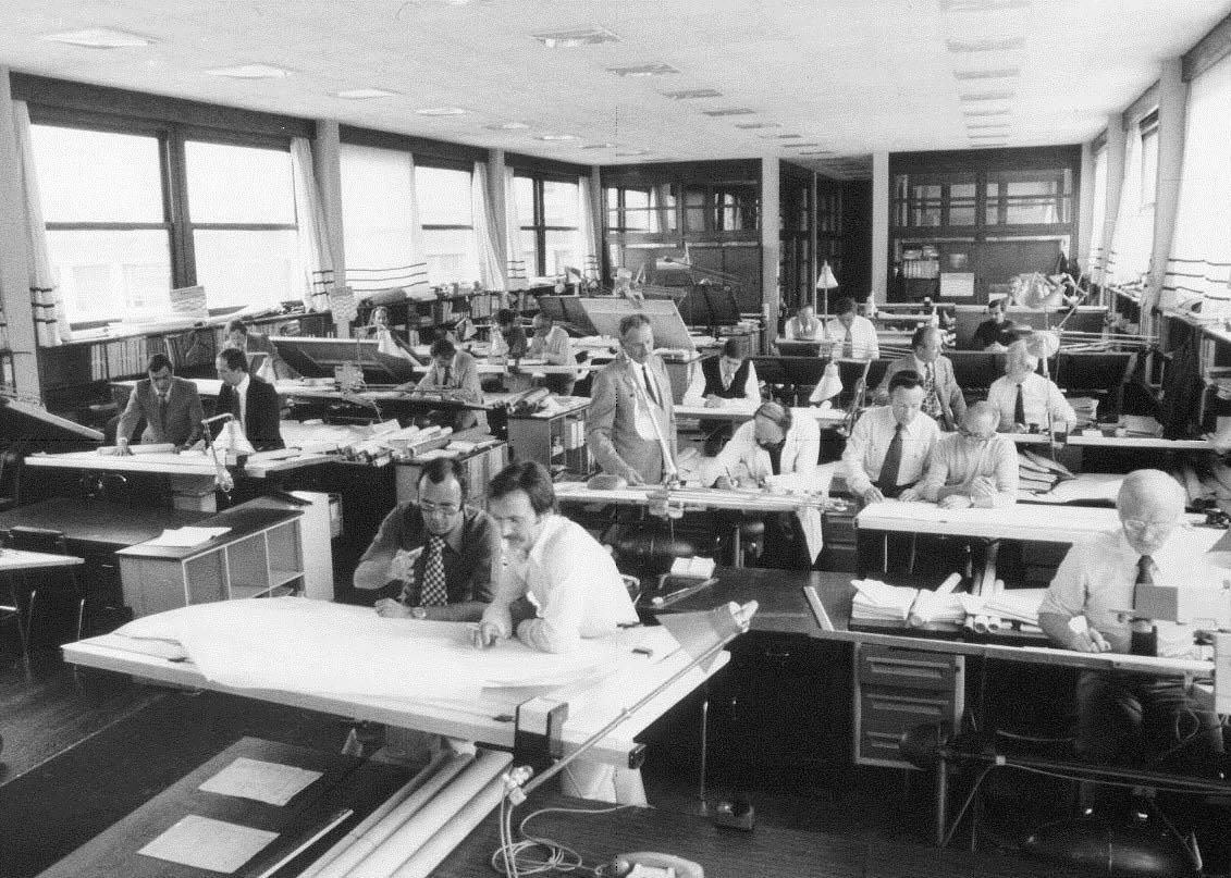 Le bureau d'étude de Dassault dans les années 60'.
