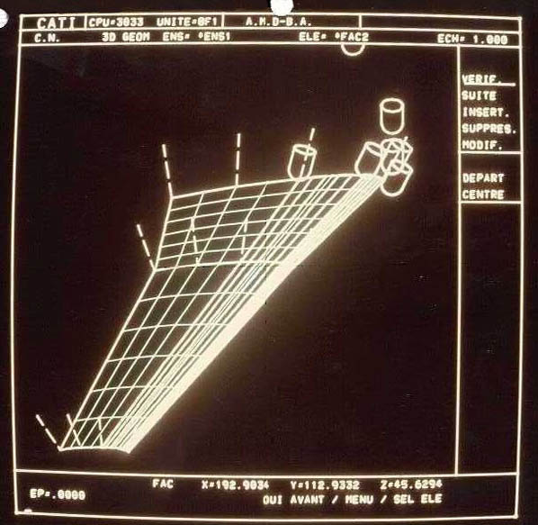 Définition de la géométrie de la maquette de soufflerie sous CATI. Dassault Aviation.