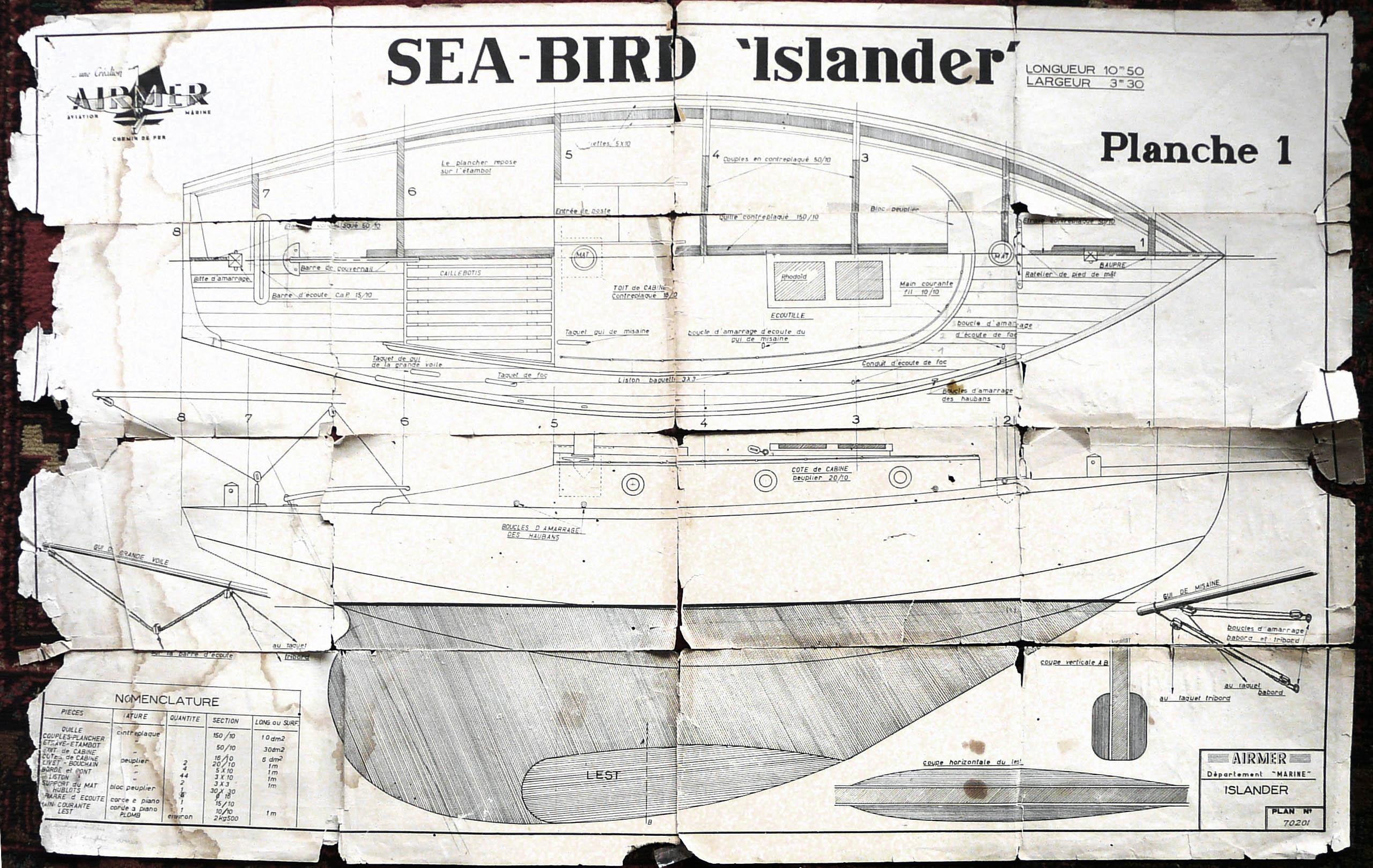 Modelisme Naval Le Sea Bird Islander D Airmer Un Plan Vintage De Voilier